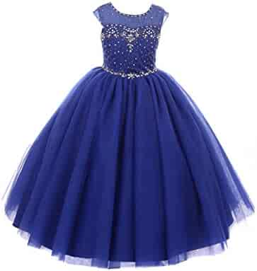 3f0aec8b1 Castle Fairy Girls' First Communion Organza Sequin Pearls Flower Girl Dress  with Train
