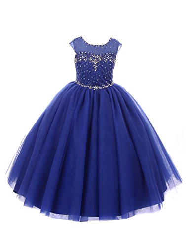 Castle Fairy Girls Pageant 2018 Wedding Flower Girl Dresses Pearls First Communion with Bow (2, Royal Blue -
