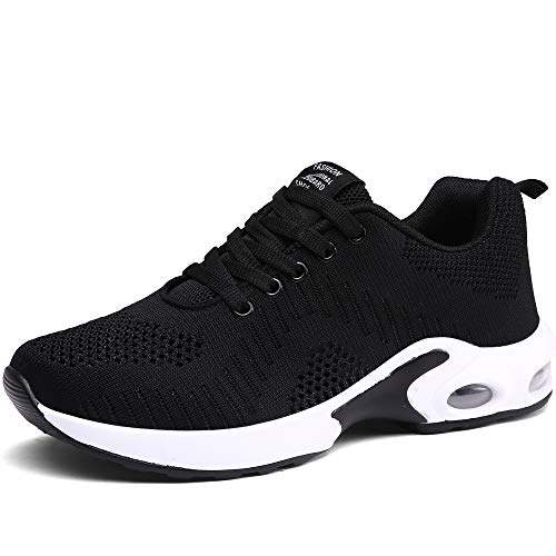 CASMAG Womens Sneakers Training Gym Shoes Breathable Athletic Sports Running Walking Shoes Black 8 M US (Women Shoes Wide Athletic)