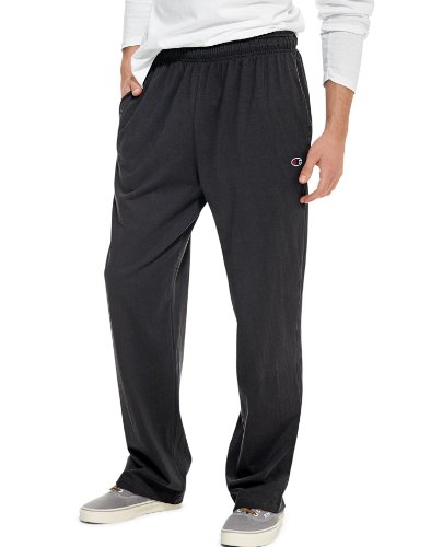 Workout Pants Athletic - Champion Men's Authentic Open Bottom Jersey Pant, Medium - Black