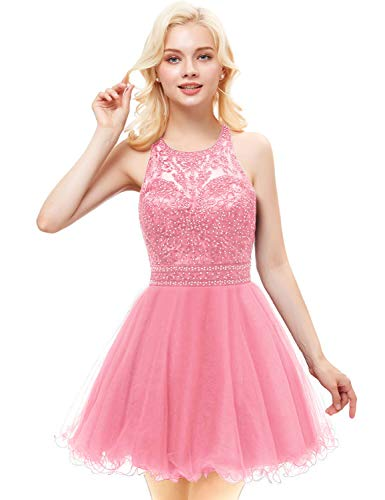 Aurora Bridal Women's Tulle Beaded Homecoming Dresses 2018 Short Prom Gown Size 2 Pink