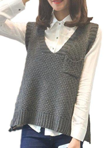 YiTong Vネック ベスト レディース 秋用 冬用 ゆったり 着痩せ 体型カバー ニットベスト 袖なし ニット トップス 韓国風 おしゃれ ニット プルオーバー
