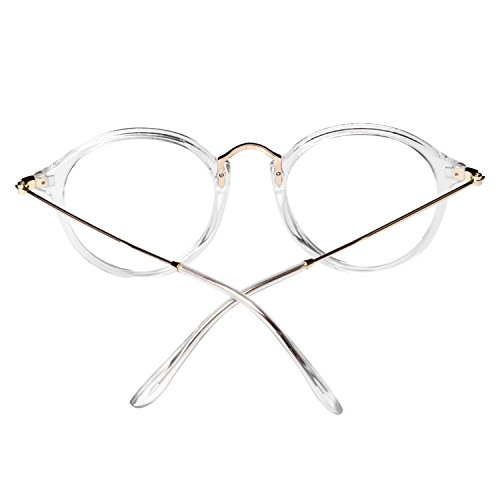 5b59b34989639b Forepin® Lunettes de Vue Rondes Unisex Cadre Frame Lentille Claire pour  Homme et Femme Vintage ...