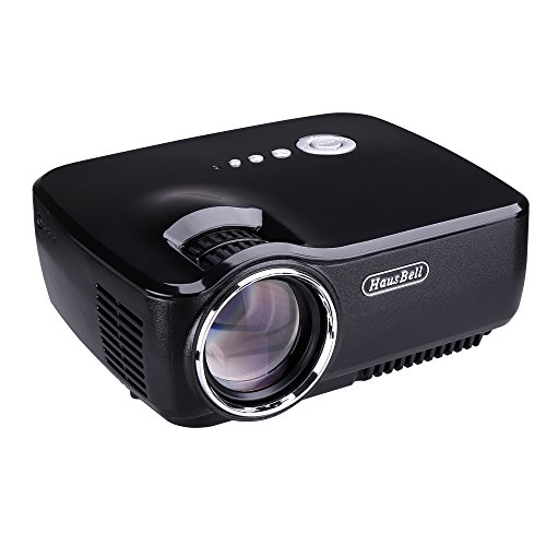 Projector, Hausbell LED Lumens 1500ANSI Luminous efficiency Portable Projector LED Mini Home Projector for Outdoor Indoor Movie/Home Theater/Game/TV Show (Black)
