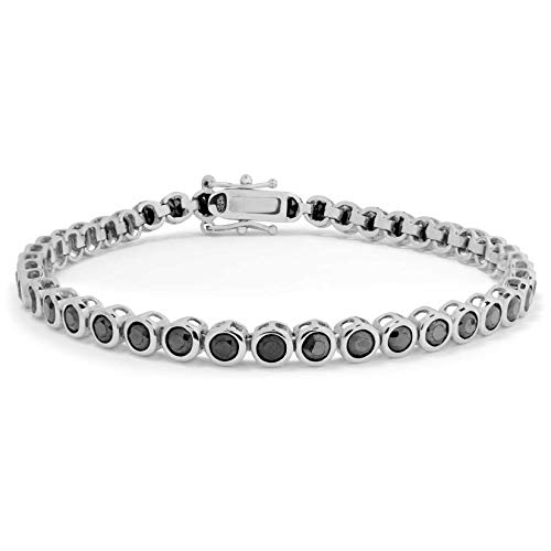 KEZEF Rhodium Plated Sterling Silver 3mm Fancy Cut Round Black Cubic Zirconia Bezel Set Tennis Bracelet Bridal Wedding Jewelry - - Bezel 3mm Inch 7 Round