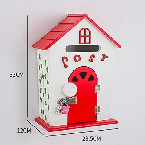 SCMAI Lndoor Mailbox Wooden Wall Mounted Mailbox Creative Personality Mailbox Psychological Consultation Room Creative Cabin (Color : D)