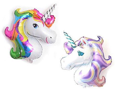 Unicorn Balloons for Birthday Party Decorations - Adults & Kids Birthday Balloon Supplies - Wedding or Baby Shower Themed Decoration - 2 Pc Balloon Set by Jolly Jon ® (2 Piece Set)