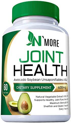 N'More Avocado Soybean Unsaponifiables Joint Health Supplement 400 mg, Non-GMO, Dairy, Gluten & Shellfish Free, 60 Day Supply, One Capsule Per Day