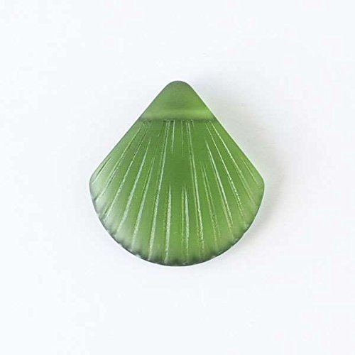 Cherry Blossom Beads Cultured Sea Glass 28x30mm Emerald Green Scallop Shell Top Drilled Pendant - 3 Per ()