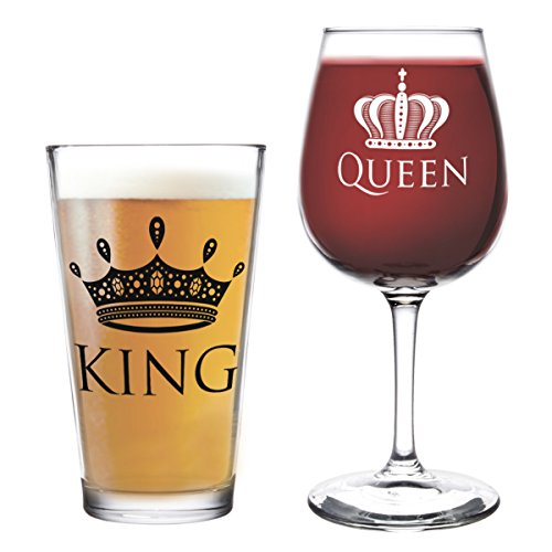 [King Beer Queen Wine Glass- 16 oz. Pint Glass, 12.75 oz. Wine Glass - Cool Present Idea for Wedding, Anniversary, Newlyweds, and Couples (Set of] (Halloween Ideas For Couples)