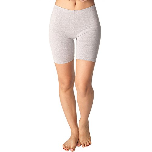 In Touch Womens Combed Cotton Basics 5 Inch Bike Short by, grey - X-Large by In Touch