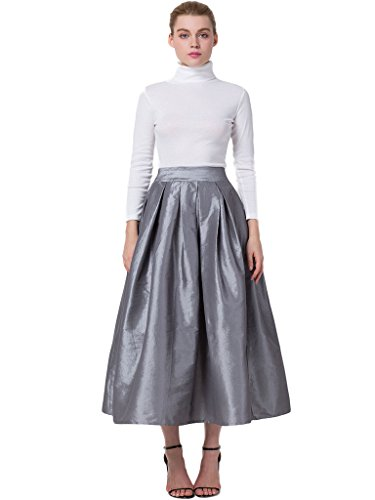 (PERSUN Women's High Waist A Line Pleated Swing Long Skirt with Pockets Gray)