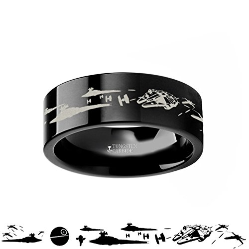 New Hope Star (Star Wars A New Hope Death Star Space Battle Black Tungsten Ring Episode IV - 4mm 6mm 8mm 10mm 12mm)