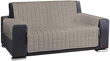 HomeLife – Cubre sofá hidrófugo – Protector de sofá Antideslizante de algodón – Protector Acolchado contra el Polvo, Las Manchas y el Desgaste – 100% 3 plazas, champán: Amazon.es: Hogar
