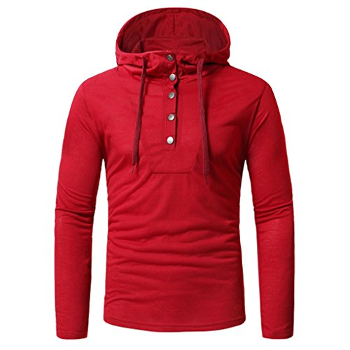 Clearance!! Men's Fashion Autumn Hoodie Fastener Tops GoodLock Long Sleeved Sweatshirts Tops Blouses (Large, Red)