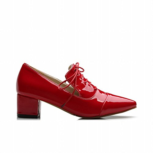 Oxfords Latasa Pointed Fashion Chunky heel Red toe Womens Chic Shoes Mid WaBawq8xrF