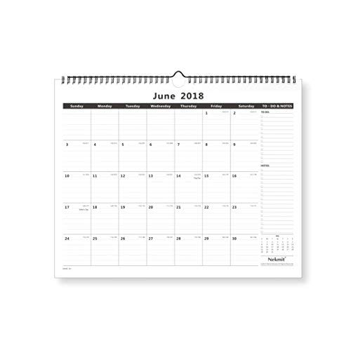 Nekmit Monthly Wall Calendar, January 2019 - December 2019, 15 x 12, Wirebound, Black