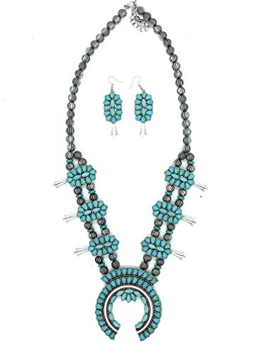 Jayde N' Grey Navajo Turquoise Southwestern Squash Blossom Necklace & Lace Jewelry Bag (Turquoise Long Native) ()