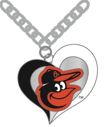 aminco MLB Baltimore Orioles Swirl Heart Necklace