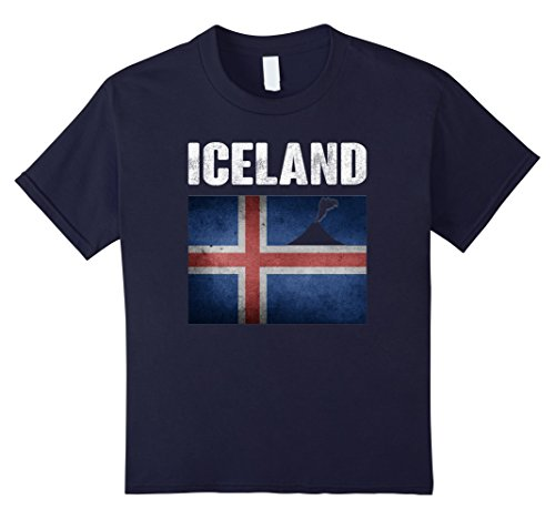 Kids Distressed Vintage Iceland Flag Funny T-Shirt 12 Navy (Iceland National Costume For Boys)