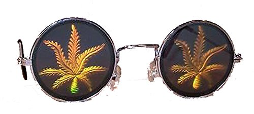 Single Pot Marijuana Leaf Hologram 3d Novelty Adult Unisex - Sunglasses Leaf Pot