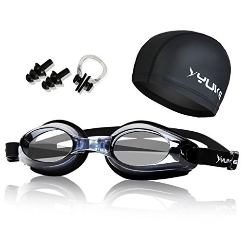 Professional Swimming Goggles Set - Adjustable Swimming Goggles +No Leaking Swimming Cap + Nose Clip + Ear Plugs+ Bag, Crystal Clear Comfortable Goggles Anti Fog UV Protection for Men Women Youth Kid by YWLSTM (Image #1)