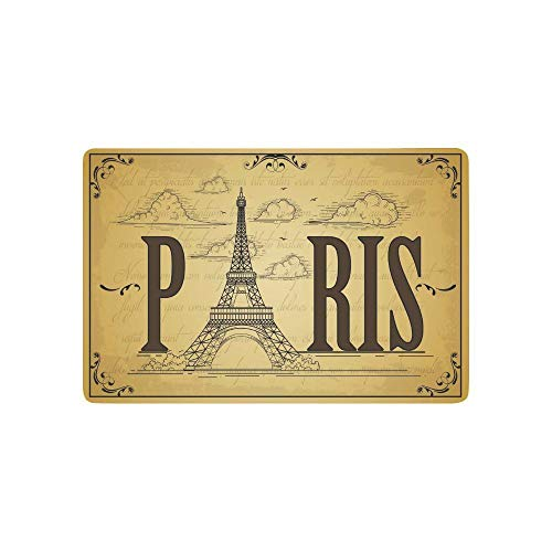 Chi Tai Tower (Needyounow Words Hand Drawn Vintage Paris Eiffel Tower Sunny Vacation, Humor Polyester Welcome Door Mat Rug Indoor/Outdoor Mats Decor Rug for Home/Office/Bedroom Skiding-prooof,23.6