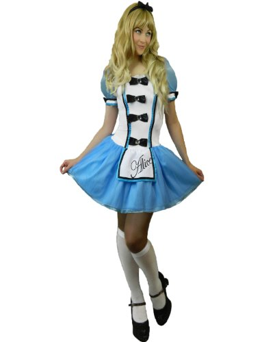 [Yummy Bee Womens Alice Fairytale Costume Apron + Stockings Blue Size 2 - 4] (Costume Design For Rabbit Hole)