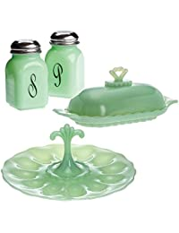 Buy (Set) Retro Jadeite Glass Salt & Pepper Shakers, Egg Plate And Butter Dish save