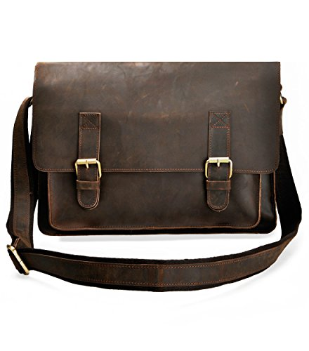 ZLYC Men Vintage Leather Messenger Bag Briefcase Shoulder Bag For 15 Inch Laptop, Dark Brown by ZLYC