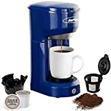 Single Serve K-CUP Coffee Maker, Single-Serve Coffee Brewers with Permanent Filter, 6-14OZ Reservoir Coffee Brewer, One-Touch Control Button Coffee Machine, Quick Brew Technology, Auto Shut Off, Blue