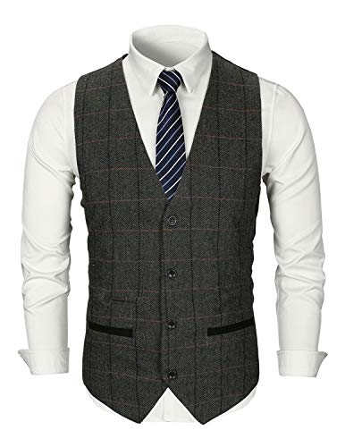 Tweed Gris xxl Plaid Gilet Fit Homme Business Veste 1 Ghyugr Mariage Manches Slim Rétro Sans S 1SBAwtn6x