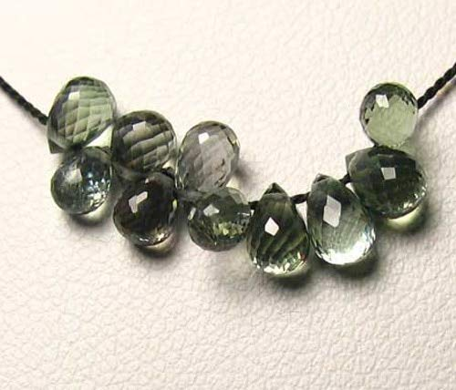 1 Natural Moss Green Sapphire Briolette Bead for Jewelry Making (6x4.5mm to 8x7mm)9667Al
