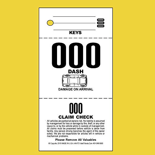 - (2,000 Tickets) 3 Part Valet Parking Tickets, Valet Tags, 110lb Card Stock White, Car diagram on front ...