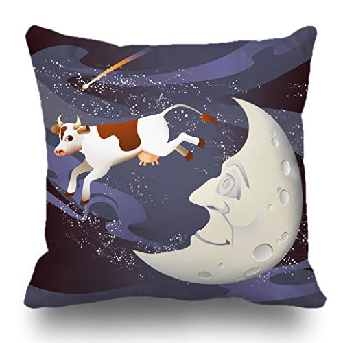 Batmerry Halloween/Thanksgiving Theme Decorative Pillow Covers 18 x 18 inch,Cow Nursery Moon Whimsical Animal Face Fantasy Fun Mother Night Throw Pillows Covers Sofa Cushion Cover Pillowcase -