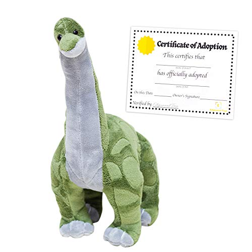 "Brachiosaurus Stuffed Dinosaur Plush - 16"" Dinosaur Stuffed Animal with Special Ultra Soft Plush Design - Brachiosaurus Dinosaur Toys with Signature Long Neck - Bonus Adoption Certificate Included! -"