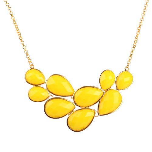 (JANE STONE Yellow Bubble Bib Necklace Fancy Chunky Necklace Fashion Jewelry Statement Necklace Evening Party Jewellery(Fn0564-Yellow))