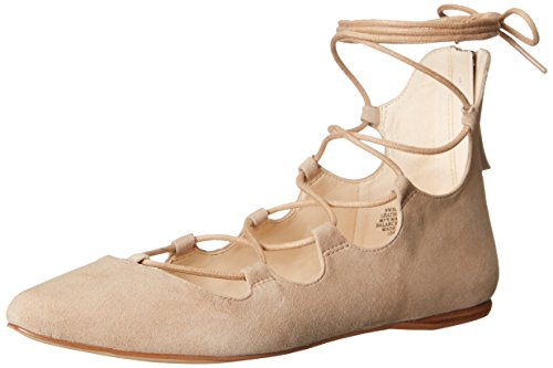 Signmeup Women's Natural Dark Suede Nine West Ballet Flat 05xBWEqw