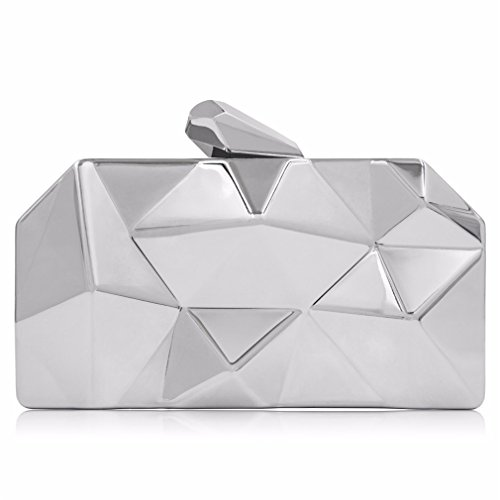 Clutch Tanling Ladies Clutch Female Clutch Purses Wedding Bag Party Metallic Women Bag Silver Evening XtpXqrP