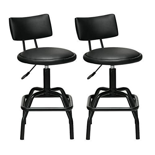 PHTz Black Swivel Bar Vintage Stool Chair Counter 2 pcs Adjustable Swivel Vintage Bar Stool PU Leather Steel Frame with Backrest 360 Degree Shop Barber Salon Makeup (Toledo Vintage Barstool)