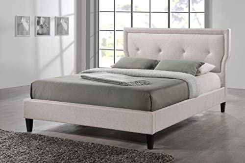 Baxton Studio Marquesa Fabric Upholstered Platform Bed, Light Beige, Queen