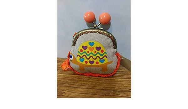 monedero tela tortuga amarilla hecha a mano con remate a ...