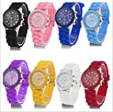 GENEVA Women Watch - Hot Trendy Silicone Band Luxury Beautiful Lady Dress Wristwatch