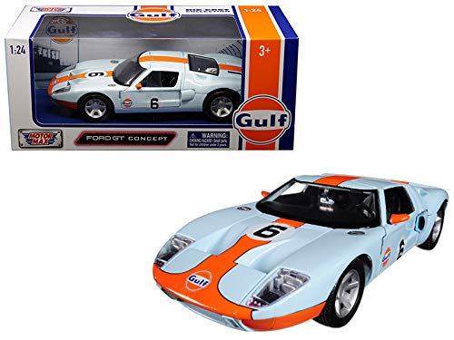 - Motormax Ford GT Concept #6 Gulf Livery Light Blue Orange Stripe 1/24 Diecast Model Car