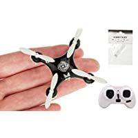 CHEERSON CX-10A RC Nano Drone with Controller and Hobbytiger Gift Headless Mini Quadcopter for Beginner Black