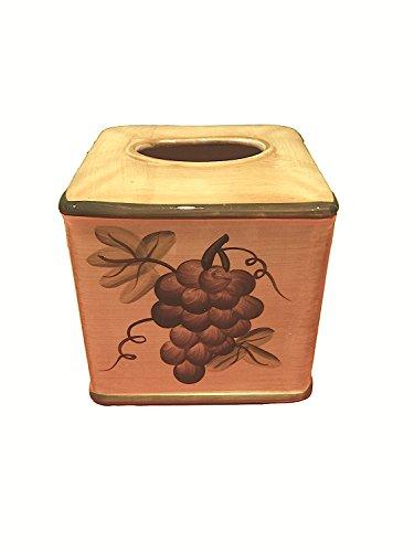 Tuscany Grape Wine Decor Ceramic Tissue Box Cover, 82587 by ACK