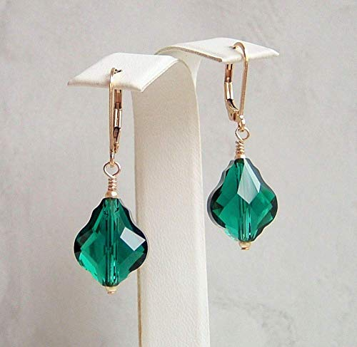 Dark Green Baroque Teardrop Made with Swarovski Crystal Faux Emerald May Birthstone Gold Filled Leverback Earrings Gift Idea