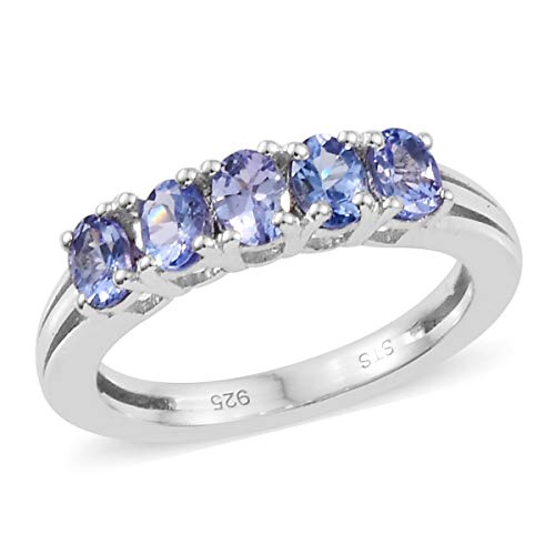 Oval Tanzanite 5 Stone Ring 925 Sterling Silver Platinum Plated Jewelry for Women Size 8 Ct ()