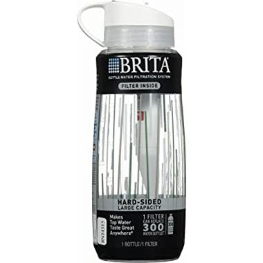 Brita 34 Ounce Hard Sided Water Bottle with 1 Filter, BPA Free, Clear Lines (Designs May Vary)