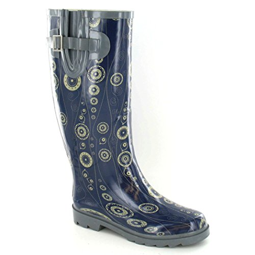Blue Ladies Pattern Womens Wellington Boots On Circle Spot Rubber W84qSxwEfH
